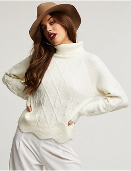 Turtleneck Scallop Trim Sweater by Charlotte Russe