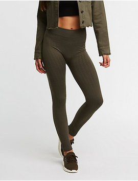 Textured Fleece Lined Leggings by Charlotte Russe