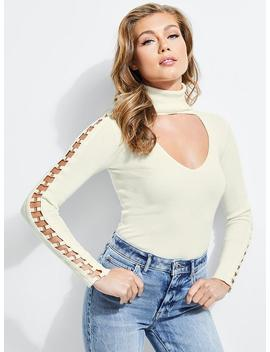 Soutache Sheer Sleeve Sweater by Guess