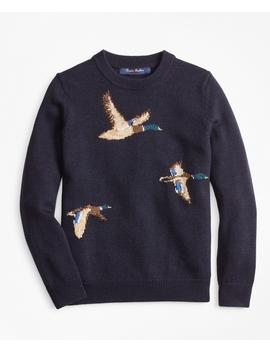 Boys Merino Wool Blend Mallard Duck Crewneck Sweater by Brooks Brothers