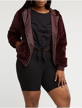 Plus Size Faux Fur Hooded Bomber by Charlotte Russe