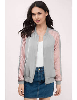 J.O.A. Tammy Blush Satin Bomber Jacket by Tobi