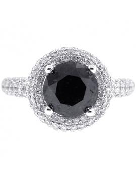 Womens Black Diamond Halo Engagement Ring 14 K Gold 3.66 Ct by 24diamonds