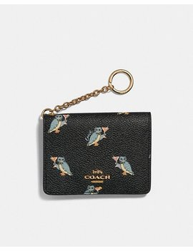 Key Ring Card Case With Party Owl Print by Coach