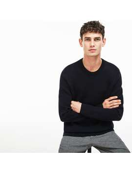 Men's Crew Neck Print Wool And Cotton Jacquard Sweater by Lacoste