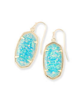 Dani Drop Earrings In Aqua Kyocera Opal by Kendra Scott