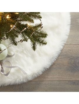 Large White Faux Fur Tree Skirt by Crate&Barrel