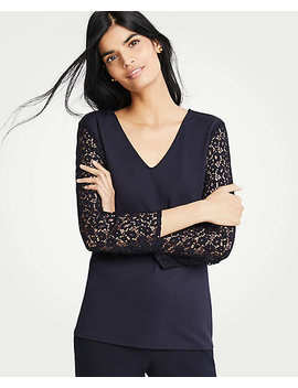 Lace Sleeve Ponte Top by Ann Taylor