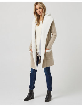 Wool Blend & Sherpa Hooded Sweater Coat by Le Chateau