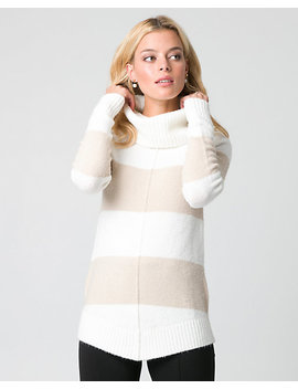 Stripe Bouclé Cowl Neck Sweater by Le Chateau