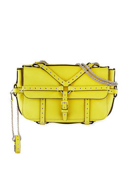 Leather Shoulder Bag With Grommet Harness Straps by Valentino Garavani