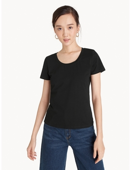 Crew Neck Basic Tee   Black by Pomelo