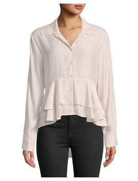 Ruffle Hem High Low Button Front Blouse by Band Of Gypsies