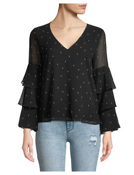 Micha Printed Tier Sleeve Blouse by Wayf