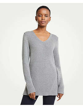 Petite Ribbed V Neck Tunic Sweater by Ann Taylor