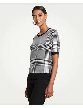Petite Houndstooth Short Sleeve Sweater by Ann Taylor
