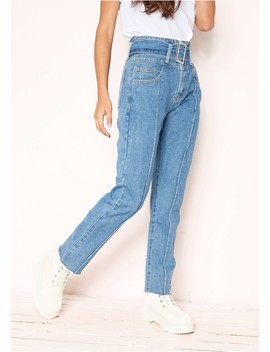 Maris Denim Belted Frayed Jeans by Missy Empire