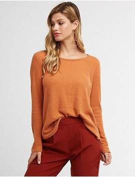 Scoop Neck Waffle Knit Top by Charlotte Russe