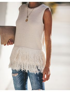 feels-just-right-sleeveless-fringe-sweater---natural by vici