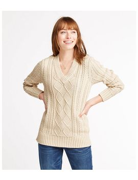 Signature Cotton Fisherman Sweater, V Neck Tunic by L.L.Bean