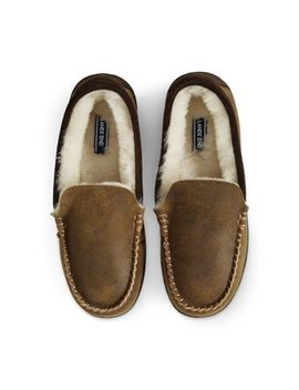 Men's Leather Shearling Slippers by Lands' End