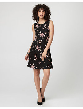 Floral Print Textured Knit Fit & Flare Dress by Le Chateau