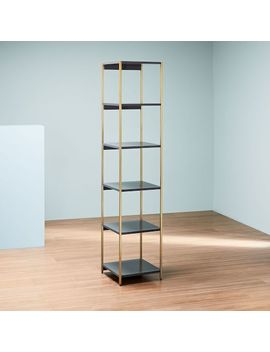 Zane Narrow Bookshelf, Gray/Antique Brass by West Elm