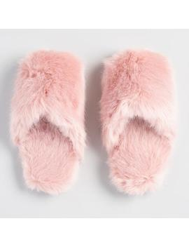 Blush Faux Fur Slippers by World Market