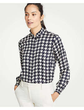 Houndstooth Ruffle Button Down Blouse by Ann Taylor