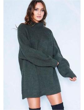 Amie Khaki Chunky Knit Jumper Dress by Missy Empire