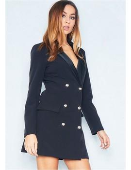 Carly Black Tuxedo Mini Dress by Missy Empire