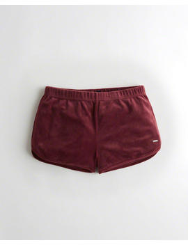 Velvet Curved Hem Shorts by Hollister