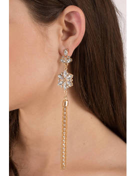 Drais Gold Jeweled Earrings by Tobi