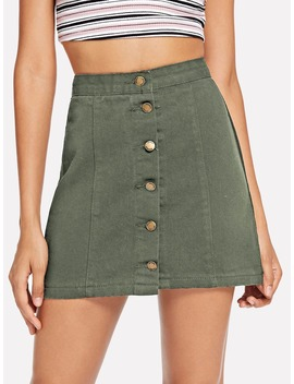 Single Breasted Denim Skirt by Romwe