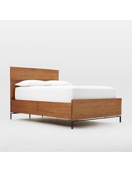 Nash Metal + Wood Storage Bed Frame   Queen, Teak by West Elm