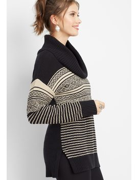 Patterned Cowl Neck Tunic Sweater by Maurices