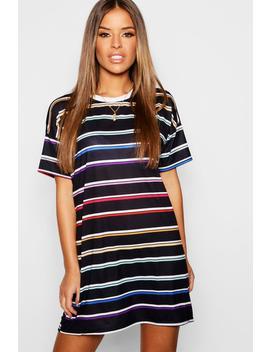 Petite Multi Stripe T Shirt Dress by Boohoo