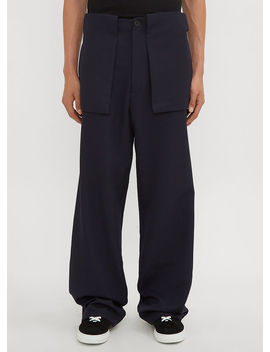 Large Pocket Pants In Navy by Jw Anderson