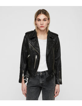 Studded Balfern Leather Biker Jacket by Allsaints