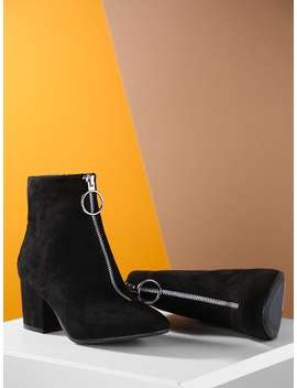 Faux Suede Pointed Toe Chunky Heel Booties by Romwe