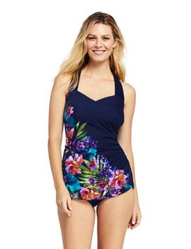 Women's Petite Slender Tunic One Piece Swimsuit With Tummy Control Print by Lands' End