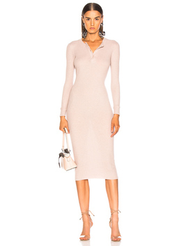 Cashmere Long Sleeve Henley Midi Dress by Enza Costa