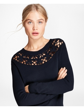 Crochet Yoke Cotton Sweater by Brooks Brothers