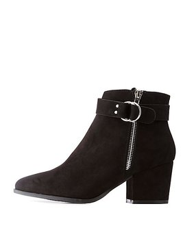 Side Buckle Ankle Booties by Charlotte Russe