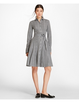 Petite Checked Cotton Poplin Godet Shirt Dress by Brooks Brothers