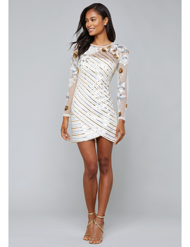Sequin Stripe Mini Dress by Bebe