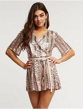Sequin Wrap Tie Romper by Charlotte Russe