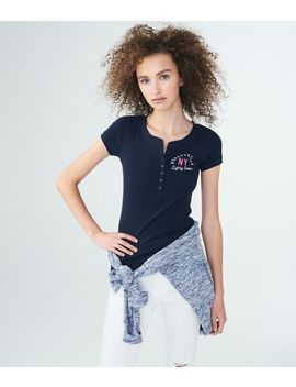 Aeropostale Ny Ribbed Graphic Henley by Aeropostale