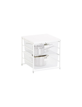White Cabinet Sized Elfa 2 Drawer Solution by Container Store