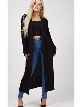 Leeka Longline Knitted Open Cardigan In Black by Vivichi